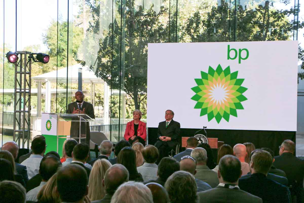 BP America Westlake One Event Video Screen and government speakers