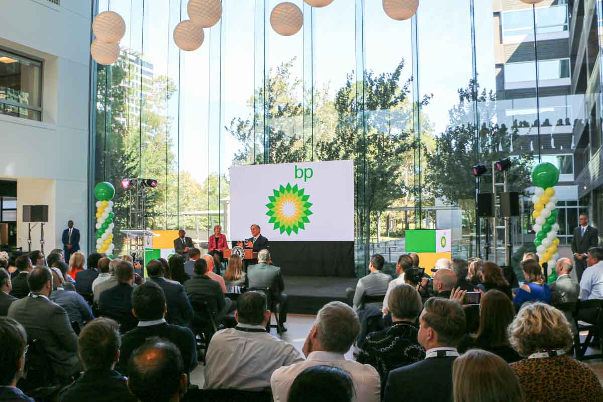 BP America Westlake One reopening cerememony event stage