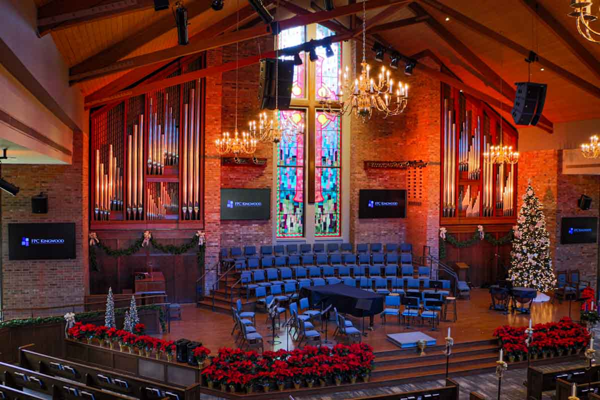 First Presbyterian Kingwood Sanctuary AV Renovation from balcony