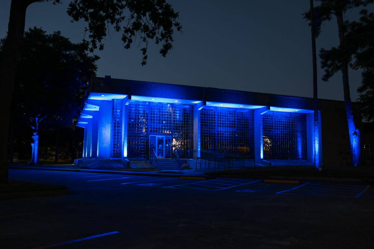 LD Systems Headquarters lit blue to honor COVID-19 healthcare workers