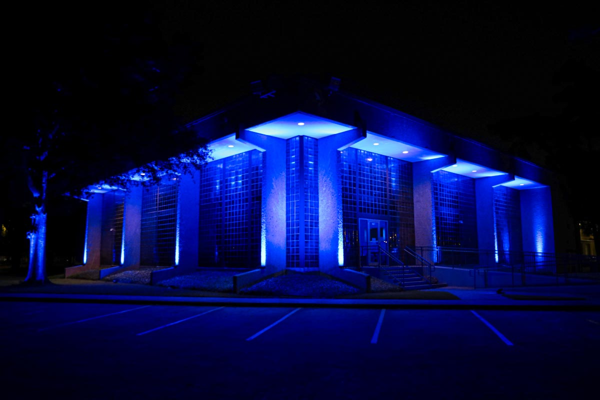 LD Systems Headquarters lit blue to support healthcare workers