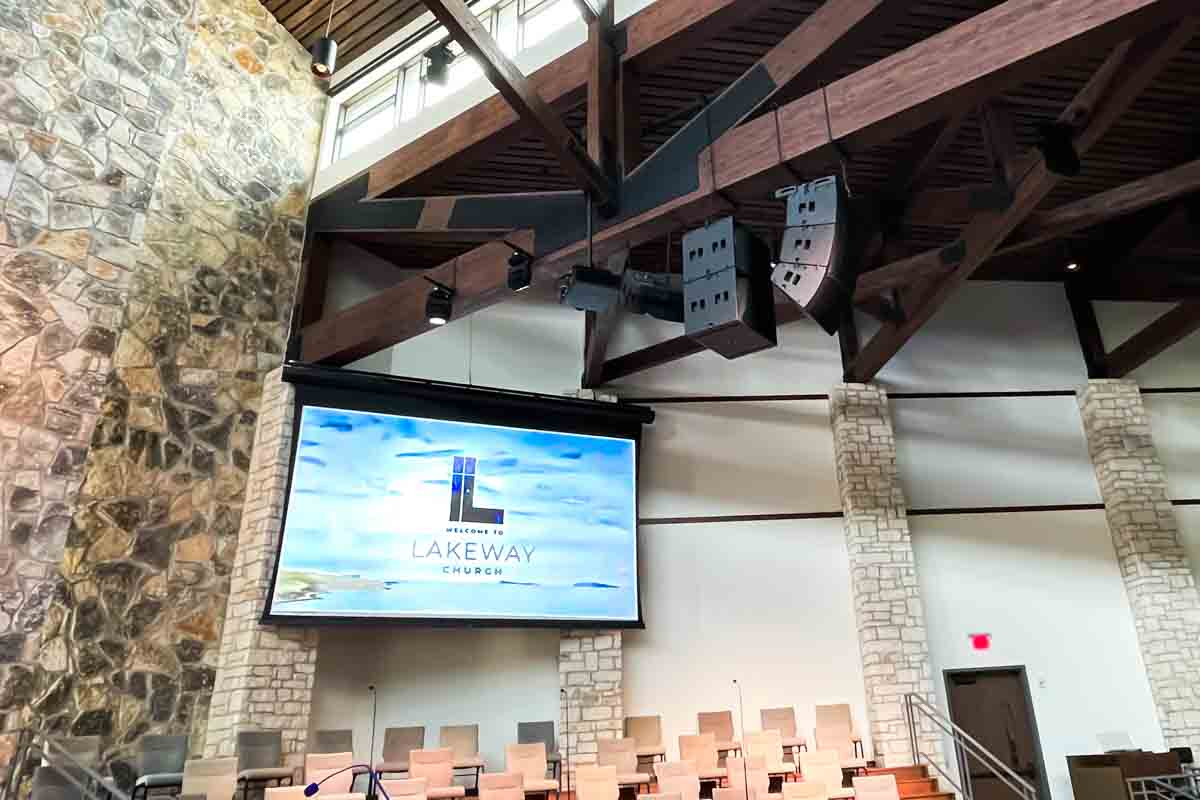 Church Sanctuary Projection Screen and Speakers