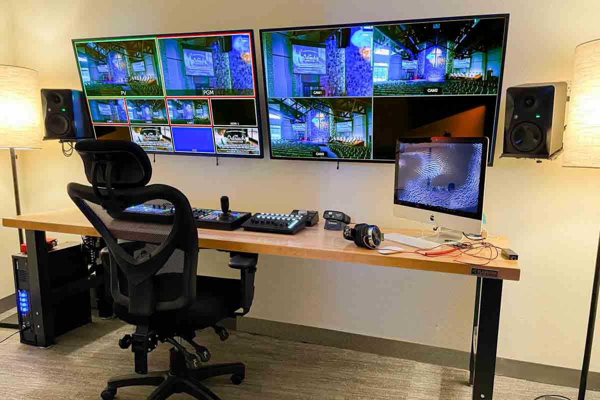 Church audio video lighting control console desk