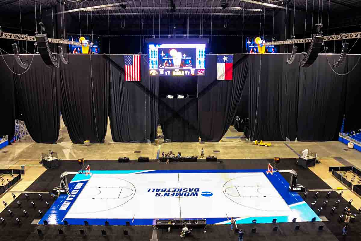 NCAA Womens Alamodome Video and Speakers above basketball court