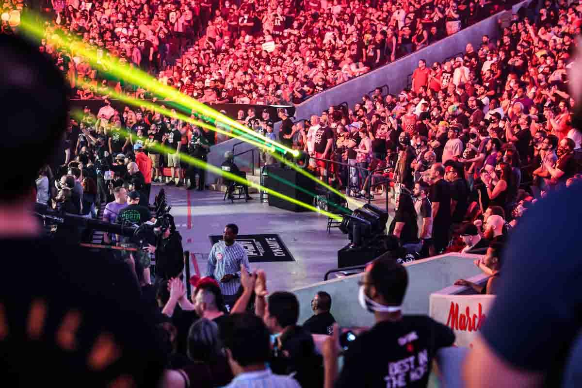 Fertitta Center arena floor lighting